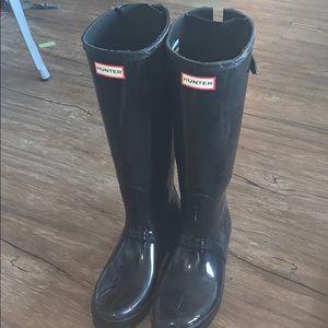 Hunter boots and fleece socks